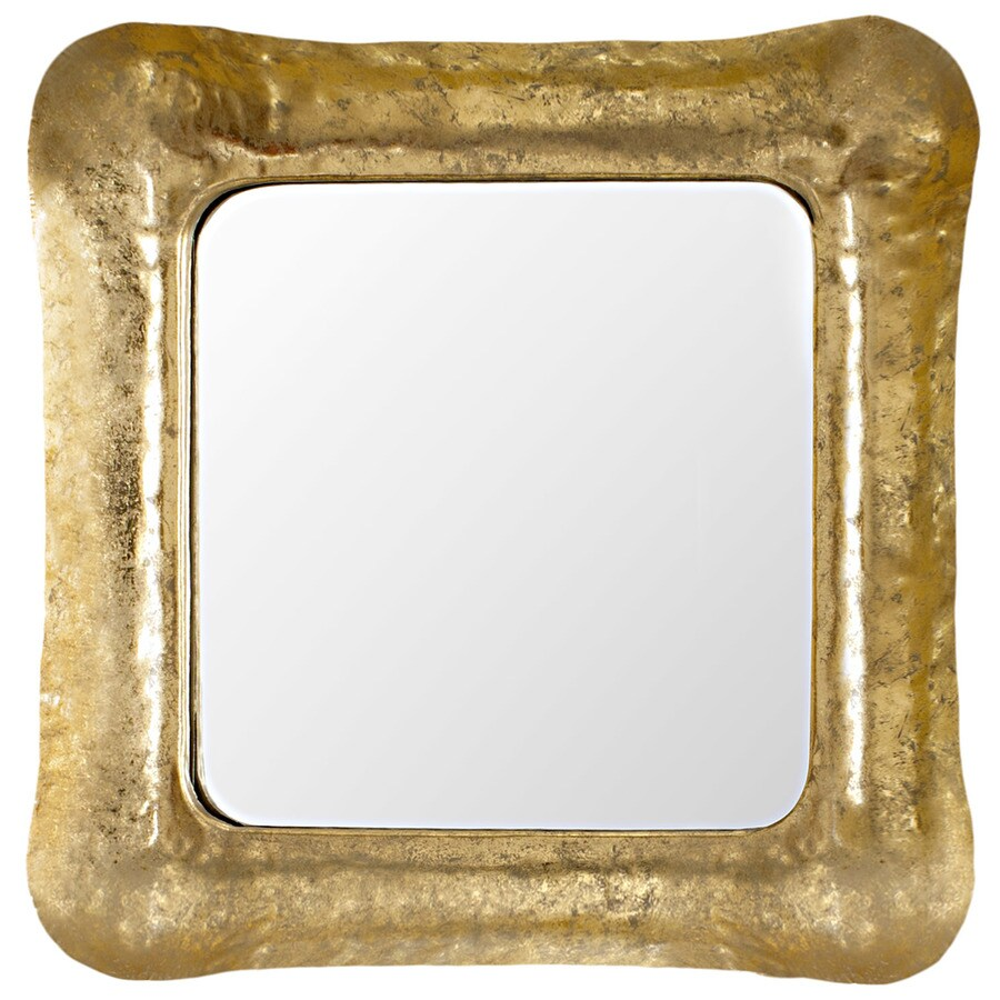 Safavieh 31-in x 31-in Gold/White Polished Square Framed Contemporary Wall Mirror