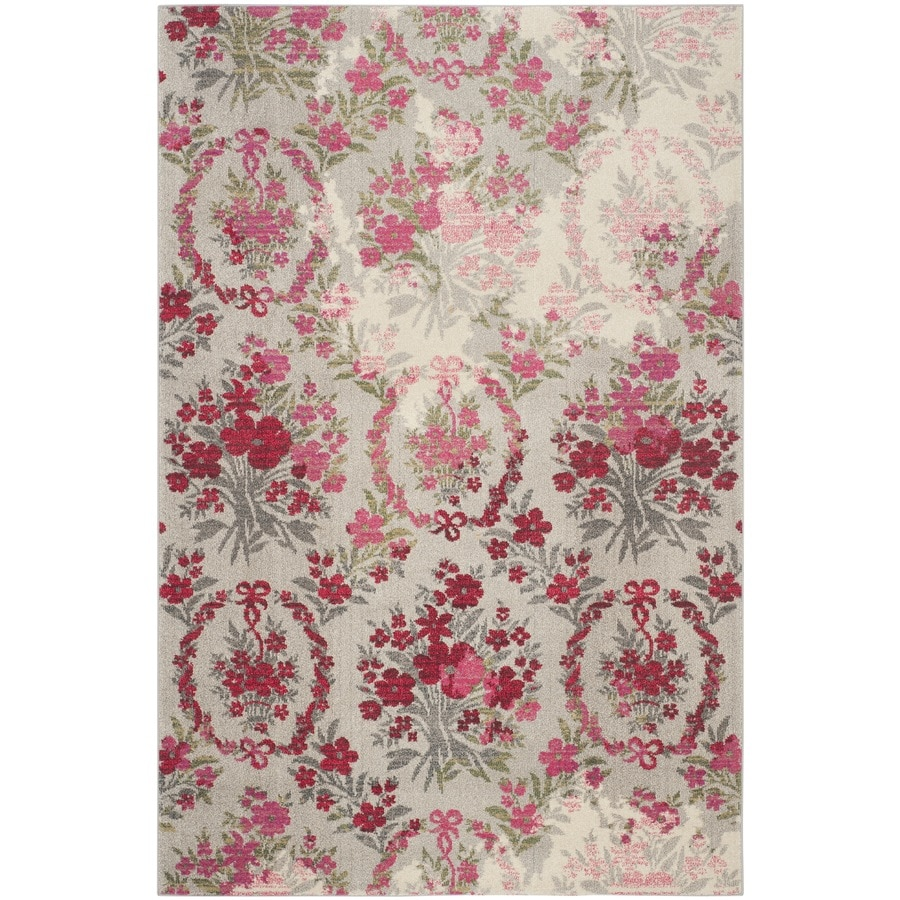 Safavieh Monaco Decatur Ivory/Pink Rectangular Indoor Machine-made Nature Area Rug (Common: 5 x 8; Actual: 5.1-ft W x 7.6-ft L)