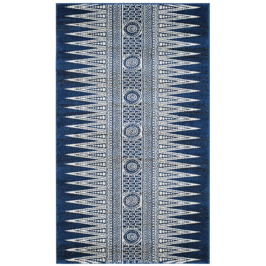 Safavieh Evoke Layla Royal/Ivory Rectangular Indoor Machine-Made Oriental Throw Rug (Common: 3 x 5; Actual: 3-ft W x 5-ft L)