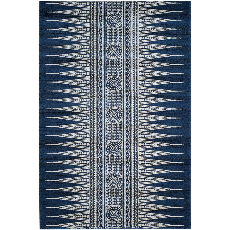 Safavieh Evoke Layla Royal/Ivory Rectangular Indoor Machine-Made Oriental Area Rug (Common: 5 x 7; Actual: 5.1-ft W x 7.5-ft L)