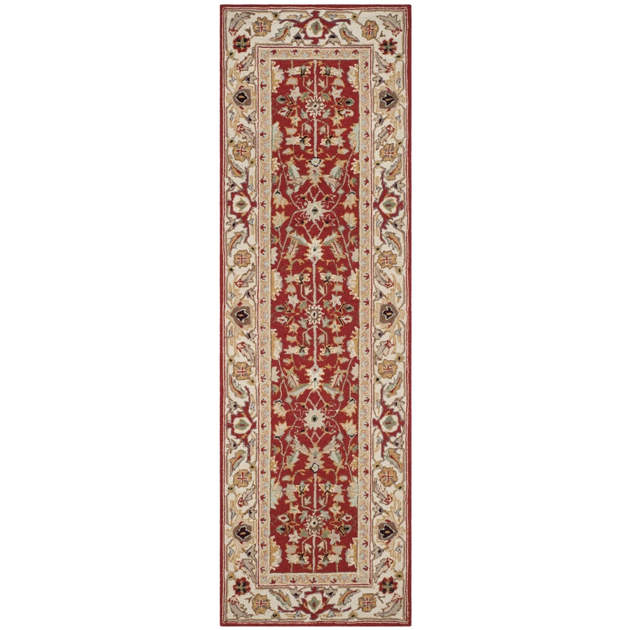 Safavieh Chelsea Nottingham Red/Ivory Indoor Handcrafted Lodge Runner (Common: 2 x 8; Actual: 2.5-ft W x 8-ft L)