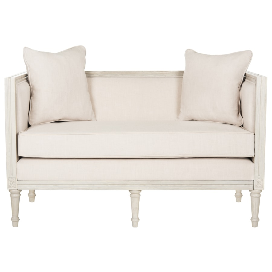 Shop Safavieh Leandra Rustic Beige Rustic Gray Linen Loveseat At