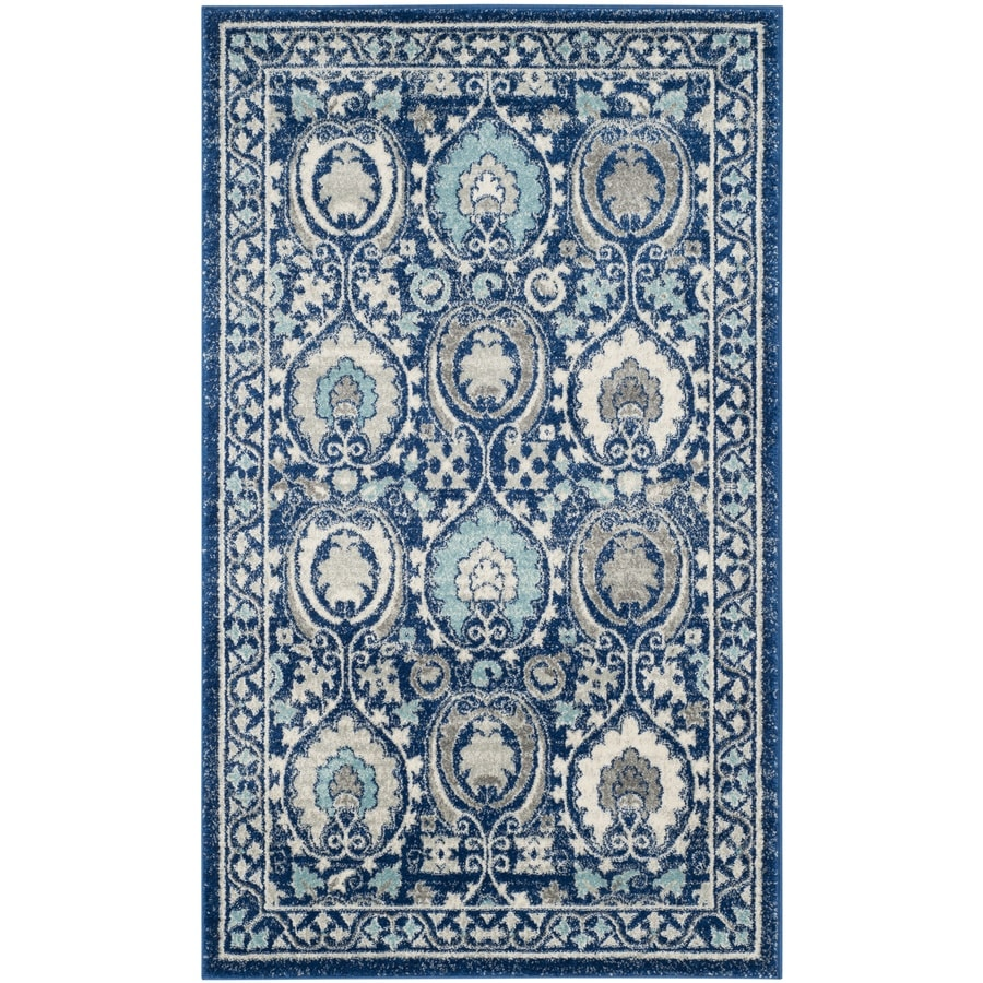 Safavieh Evoke Malaga Blue/Ivory Rectangular Indoor Machine-Made Oriental Throw Rug (Common: 3 x 5; Actual: 3-ft W x 5-ft L)