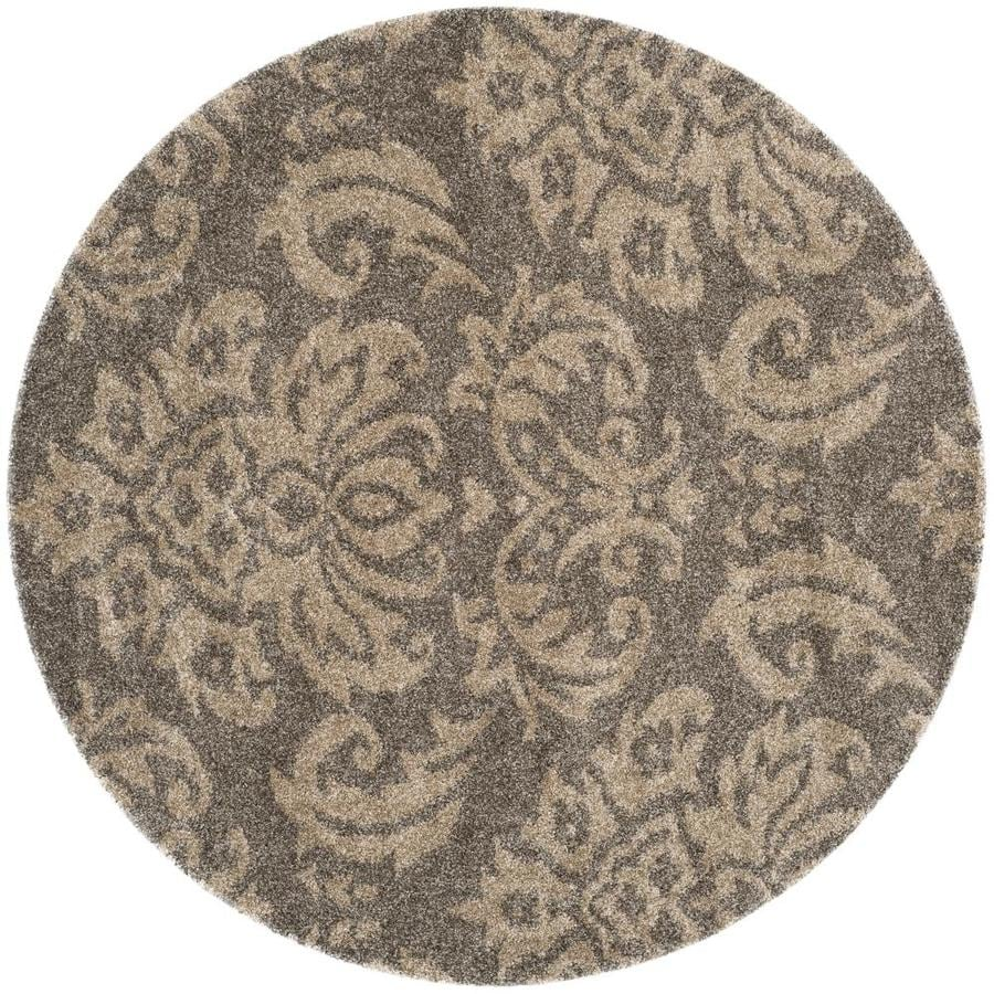 Safavieh Florida Shag Smoke/Beige Round Indoor Machine-Made Tropical Area Rug (Common: 6 x 6; Actual: 6.583-ft W x 6.583-ft L x 6.583-ft Dia)