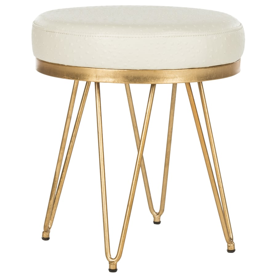Safavieh 17.8-in H Creme/Gold Round Makeup Vanity Stool