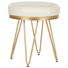 Safavieh 17.8 In H Creme/Gold Round Makeup Vanity Stool
