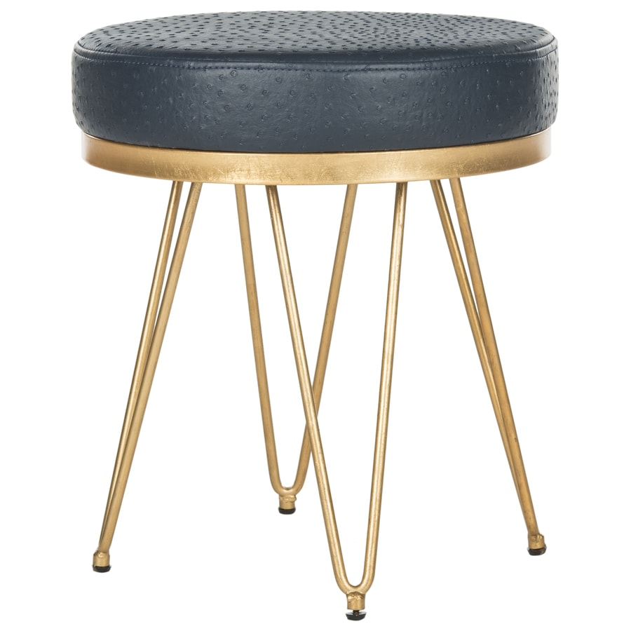 Safavieh 17.8-in H Navy/Gold Round Makeup Vanity Stool