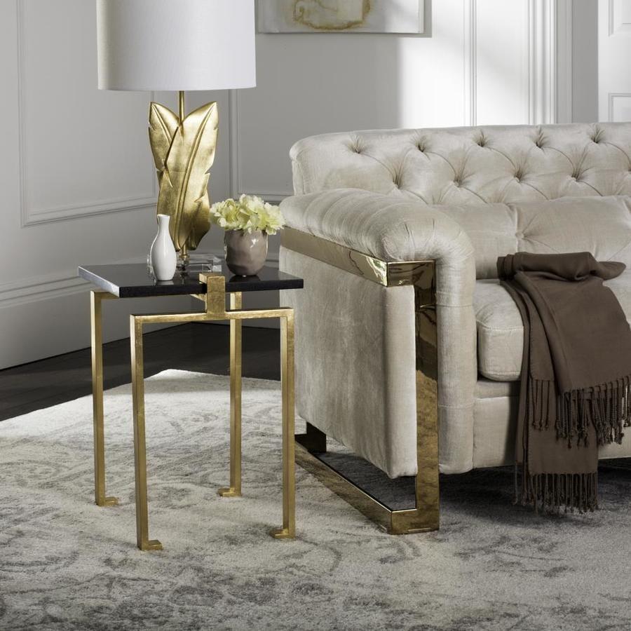 Safavieh dovie black gold glass modern end table