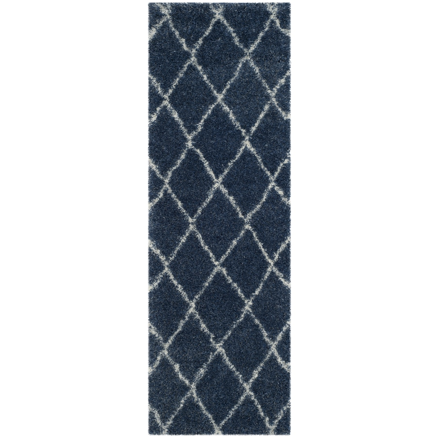 Safavieh Montreal Laval Shag Blue/Ivory Rectangular Indoor Runner (Common: 2 x 7; Actual: 2.3-ft W x 7-ft L)