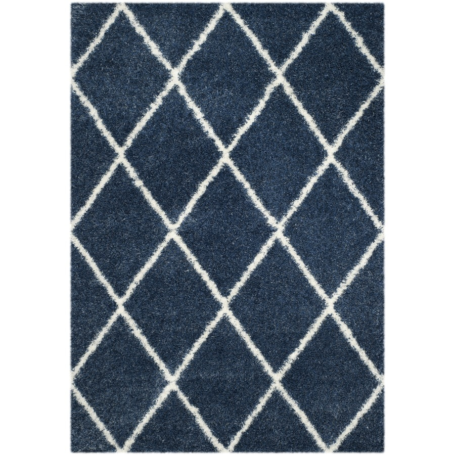 Safavieh Montreal Laval Shag Blue/Ivory Rectangular Indoor Area Rug (Common: 4 x 6; Actual: 4-ft W x 6-ft L)