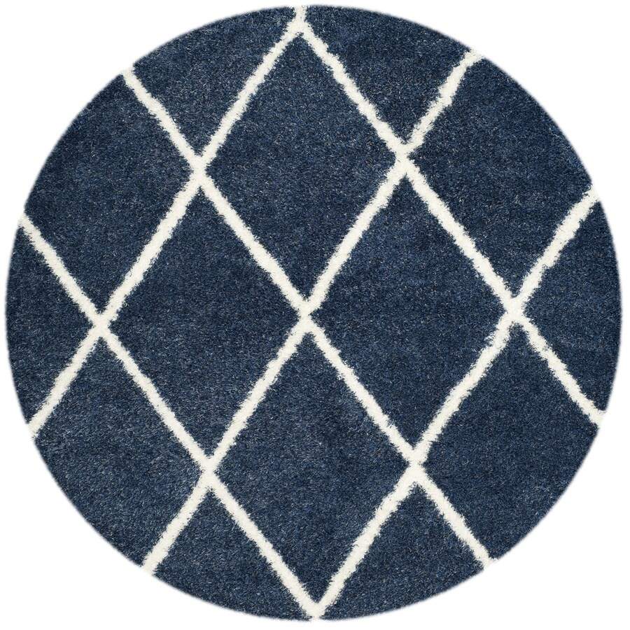 Safavieh Montreal Laval Shag Blue/Ivory Round Indoor Area Rug (Common: 7 x 7; Actual: 6.6-ft W x 6.6-ft L x 6.6-ft dia)