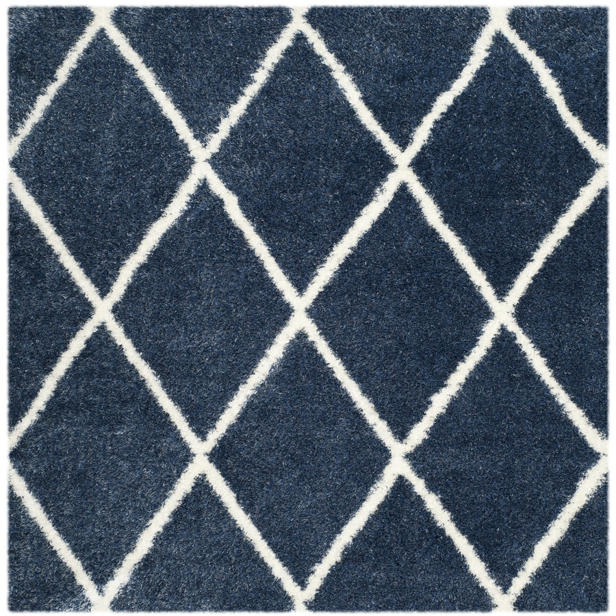 Safavieh Montreal Laval Shag Blue/Ivory Square Indoor Area Rug (Common: 7 x 7; Actual: 6.6-ft W x 6.6-ft L)