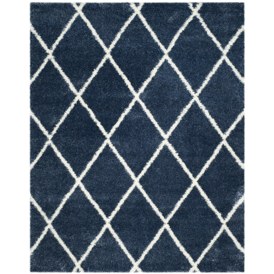 Safavieh Montreal Laval Shag Blue/Ivory Rectangular Indoor Area Rug (Common: 8 x 10; Actual: 8-ft W x 10-ft L)