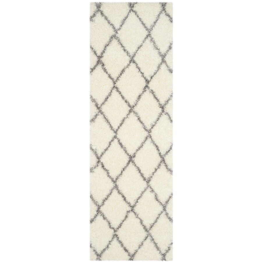 Safavieh Montreal Laval Shag Ivory/Gray Rectangular Indoor Runner (Common: 2 x 7; Actual: 2.3-ft W x 7-ft L)