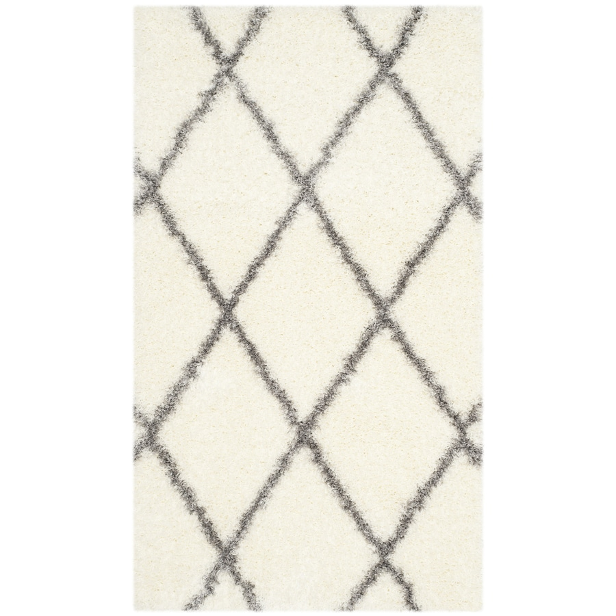 Safavieh Montreal Laval Shag Ivory/Gray Rectangular Indoor Throw Rug (Common: 3 x 5; Actual: 3-ft W x 5-ft L)