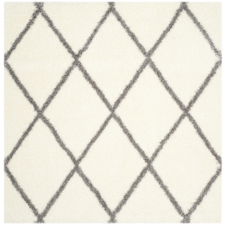 Safavieh Montreal Laval Shag Ivory/Gray Square Indoor Area Rug (Common: 7 x 7; Actual: 6.6-ft W x 6.6-ft L)