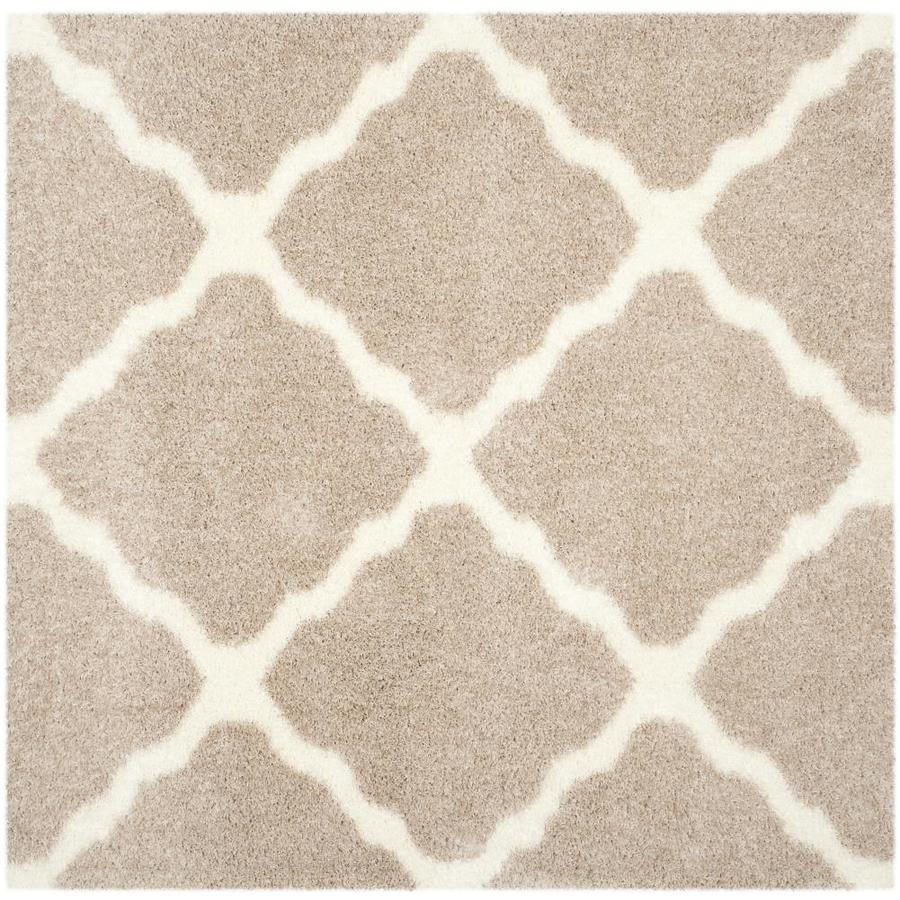 Safavieh Montreal Portneuf Shag Beige/Ivory Square Indoor Area Rug (Common: 7 x 7; Actual: 6.6-ft W x 6.6-ft L)