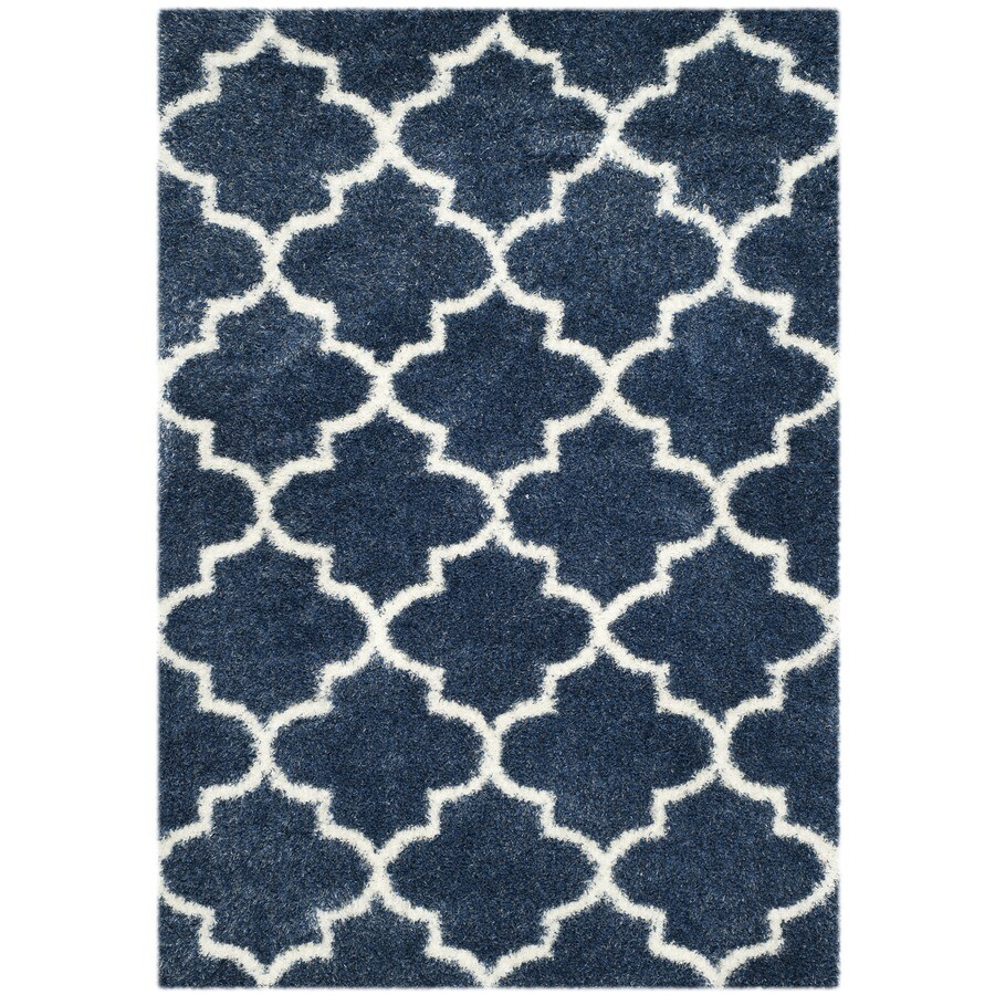 Safavieh Montreal Mirabel Shag Blue/Ivory Rectangular Indoor Area Rug (Common: 5 x 8; Actual: 5.3-ft W x 7.5-ft L)