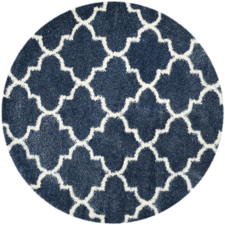Safavieh Montreal Mirabel Shag Blue/Ivory Round Indoor Area Rug (Common: 7 x 7; Actual: 6.6-ft W x 6.6-ft L x 6.6-ft dia)