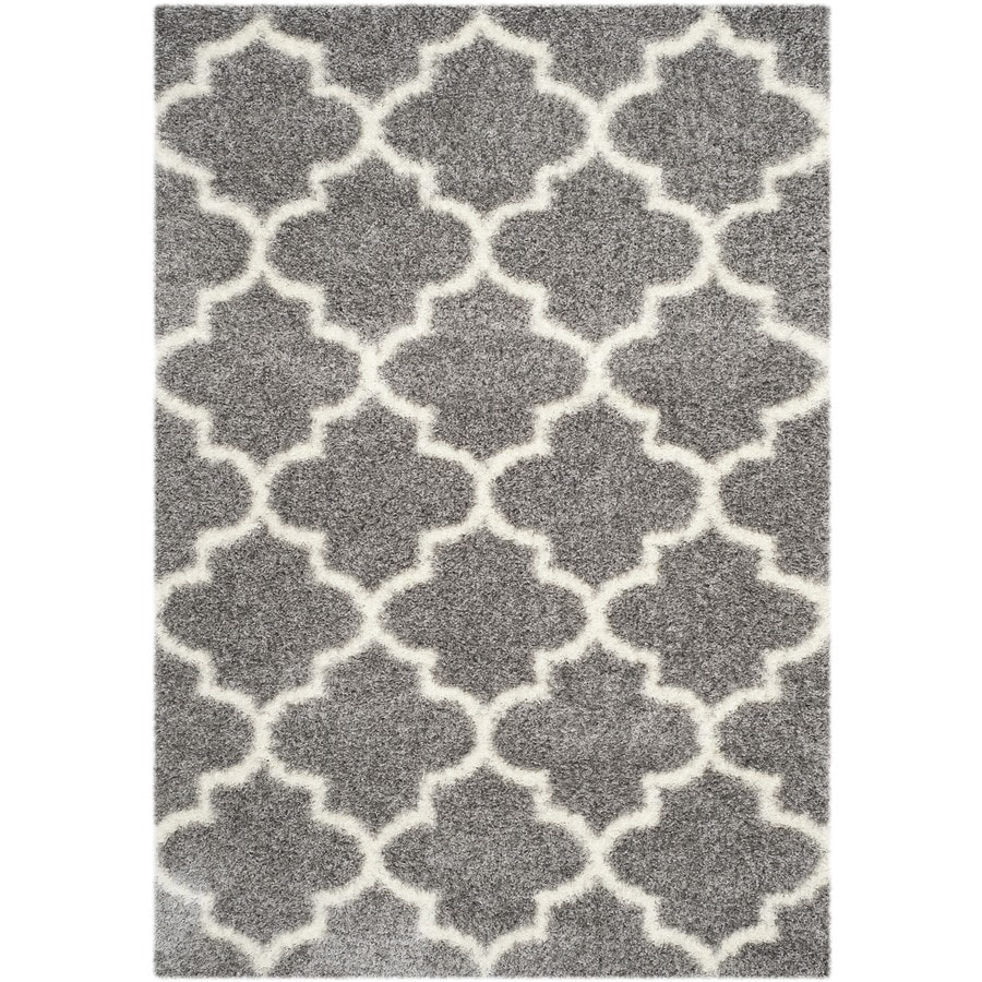 Safavieh Montreal Mirabel Shag Gray/Ivory Rectangular Indoor Area Rug (Common: 4 x 6; Actual: 4-ft W x 6-ft L)