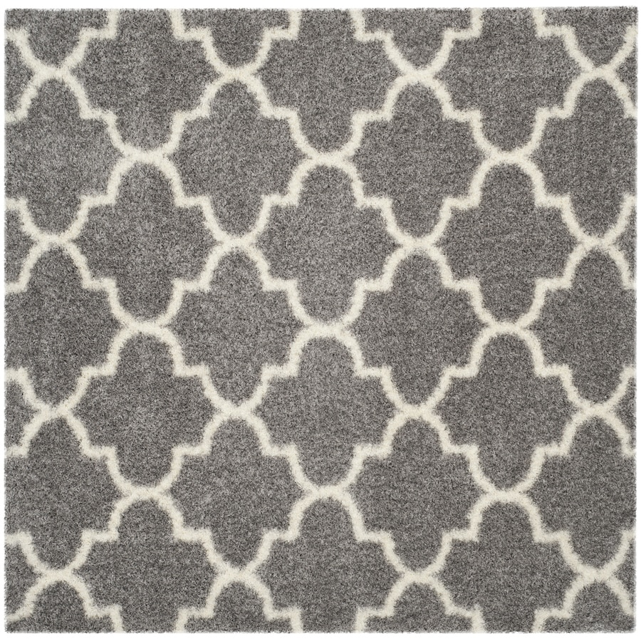 Safavieh Montreal Mirabel Shag Gray/Ivory Square Indoor Area Rug (Common: 7 x 7; Actual: 6.6-ft W x 6.6-ft L)