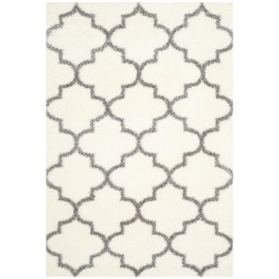 Safavieh Montreal Mirabel Shag Ivory/Gray Rectangular Indoor Area Rug (Common: 5 x 8; Actual: 5.3-ft W x 7.5-ft L)