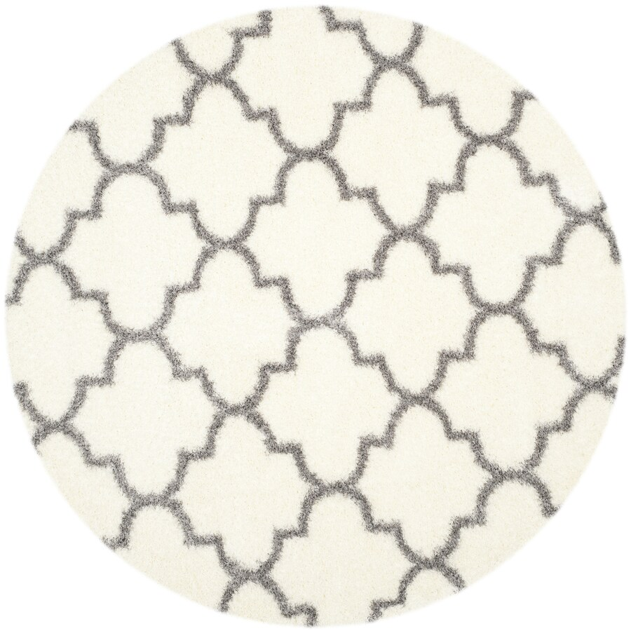Safavieh Montreal Mirabel Shag Ivory/Gray Round Indoor Area Rug (Common: 7 x 7; Actual: 6.6-ft W x 6.6-ft L x 6.6-ft dia)