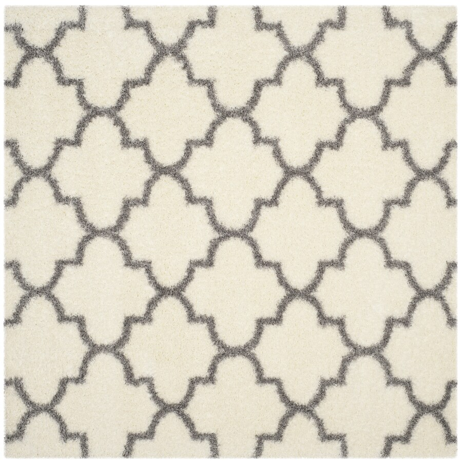 Safavieh Montreal Mirabel Shag Ivory/Gray Square Indoor Area Rug (Common: 7 x 7; Actual: 6.6-ft W x 6.6-ft L)