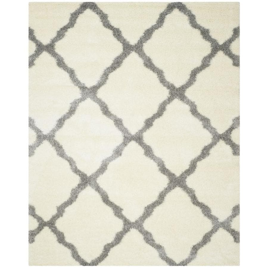 Safavieh Montreal Portneuf Shag Ivory/Gray Rectangular Indoor Area Rug (Common: 10 x 14; Actual: 10-ft W x 14-ft L)