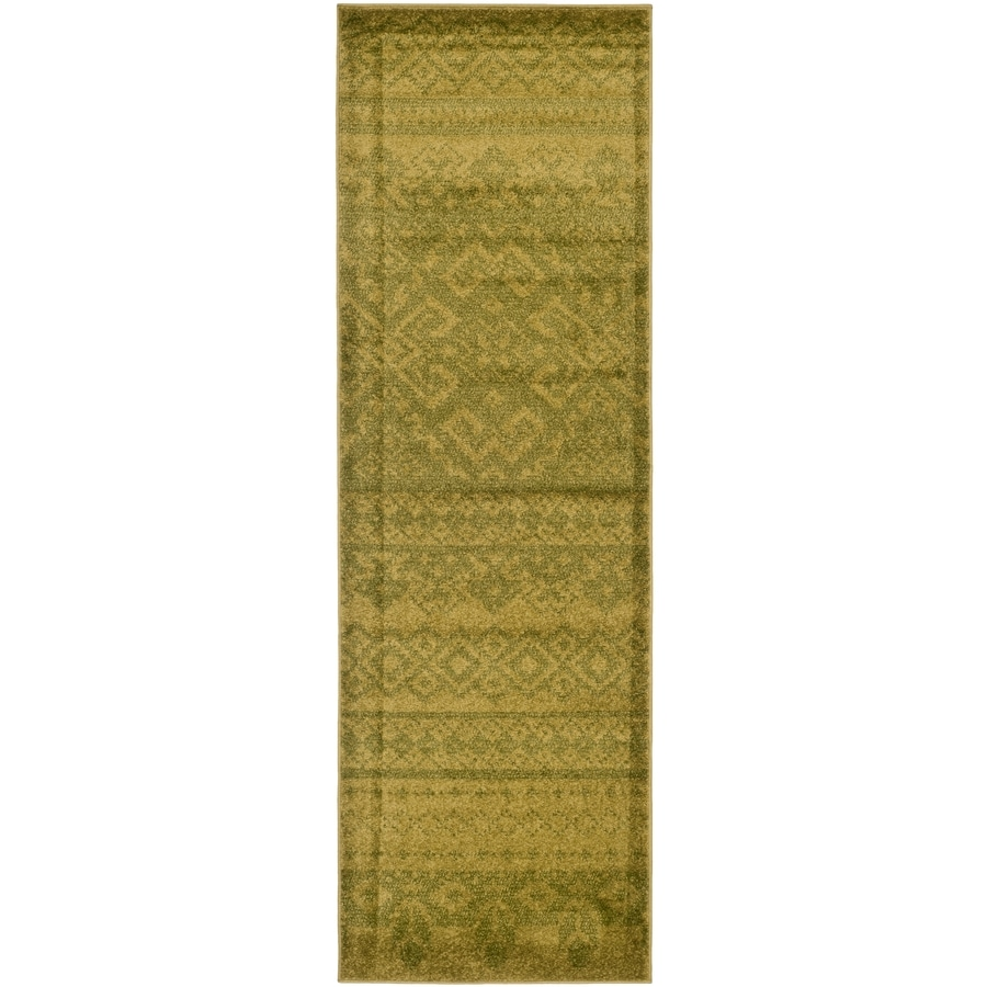 Safavieh Adirondack Taos Green/Dark Green Rectangular Indoor Machine-made Lodge Runner (Common: 2 x 14; Actual: 2.5-ft W x 14-ft L)