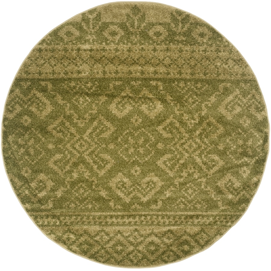Safavieh Adirondack Green/Dark Green Round Indoor Machine-Made Lodge Area Rug (Common: 4 x 4; Actual: 4-ft W x 4-ft L x 4-ft dia)