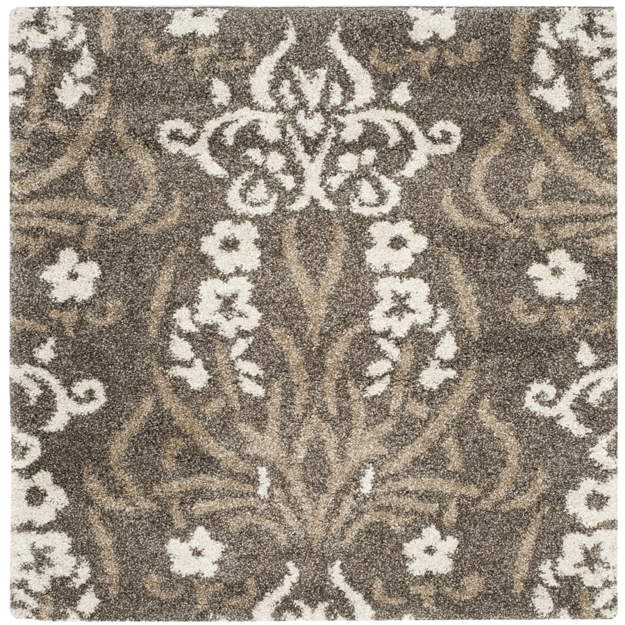 Safavieh Roxy Shag Smoke/Beige Square Indoor Machine-made Tropical Area Rug (Common: 4 x 4; Actual: 4-ft W x 4-ft L)