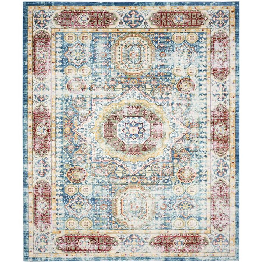 Safavieh Valencia Candence Blue Indoor Distressed Area Rug (Common: 8 x 10; Actual: 8-ft W x 10-ft L)
