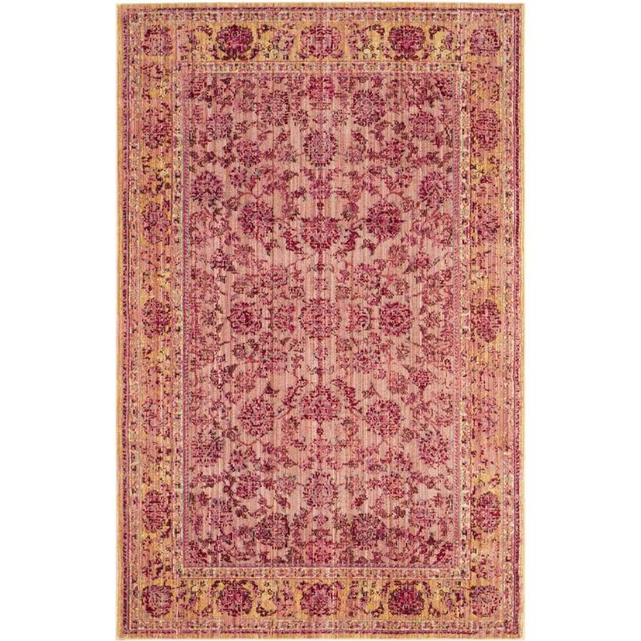 Safavieh Valencia Pink/Multi Rectangular Indoor Machine-Made Distressed Area Rug (Common: 4 x 6; Actual: 4-ft W x 6-ft L)