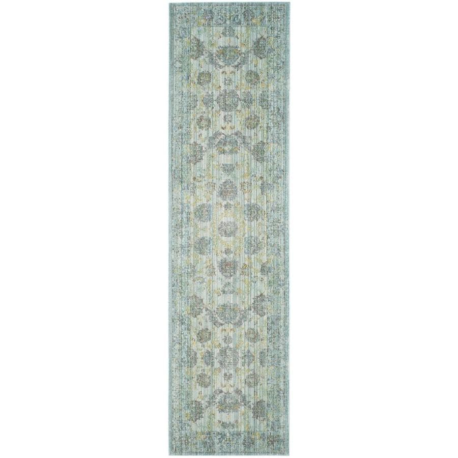 Safavieh Valencia Dinesh Light Blue/Turquoise Rectangular Indoor Machine-made Distressed Runner (Common: 2 x 8; Actual: 2.25-ft W x 8-ft L)