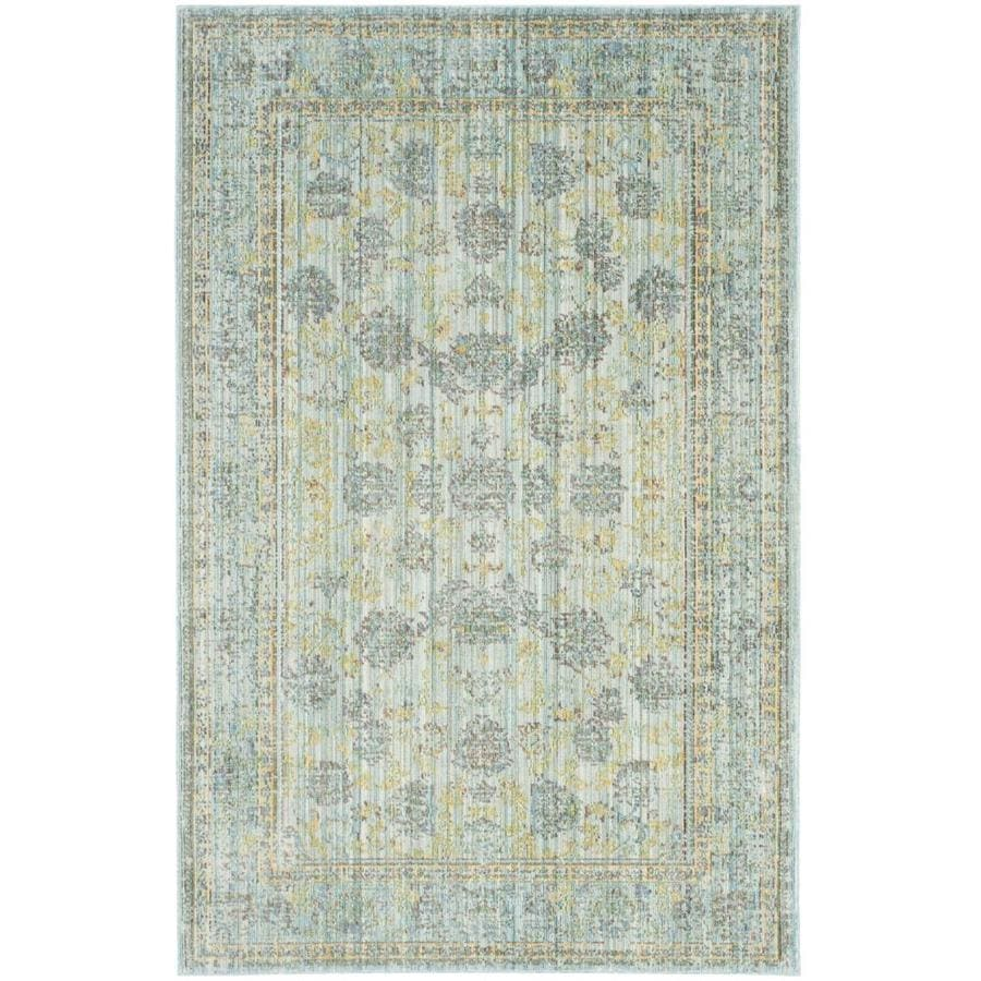 Safavieh Valencia Dinesh Light Blue/Turquoise Rectangular Indoor Machine-made Distressed Area Rug (Common: 4 x 6; Actual: 4-ft W x 6-ft L)