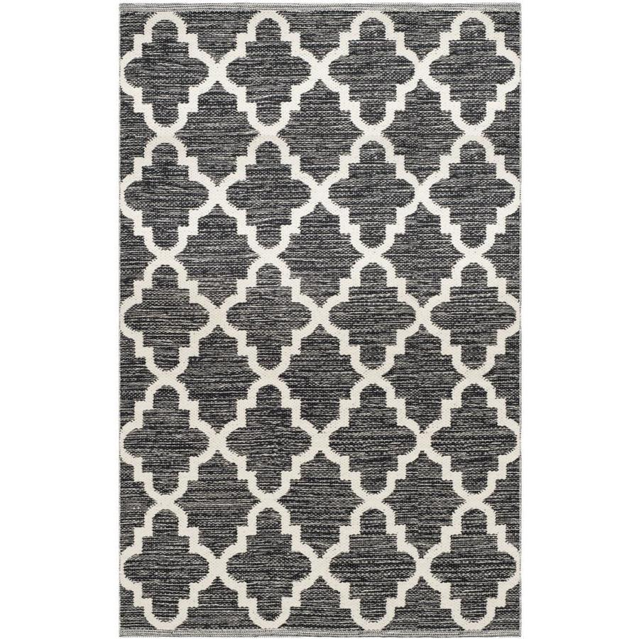 Safavieh Montauk Bolsa Black/Ivory Indoor Handcrafted Coastal Throw Rug (Common: 3 x 5; Actual: 3-ft W x 5-ft L)