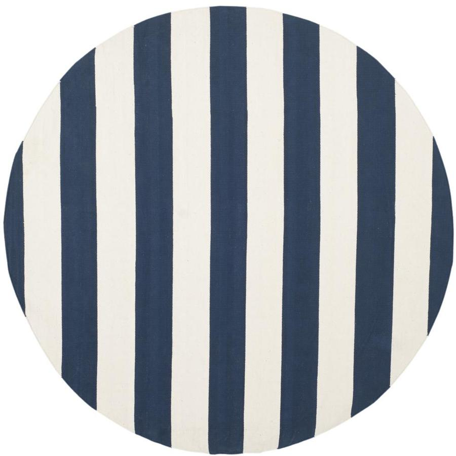 Safavieh Montauk Maslin Navy/Ivory Round Indoor Handcrafted Coastal Area Rug (Common: 4 x 4; Actual: 4-ft W x 4-ft L x 4-ft dia)