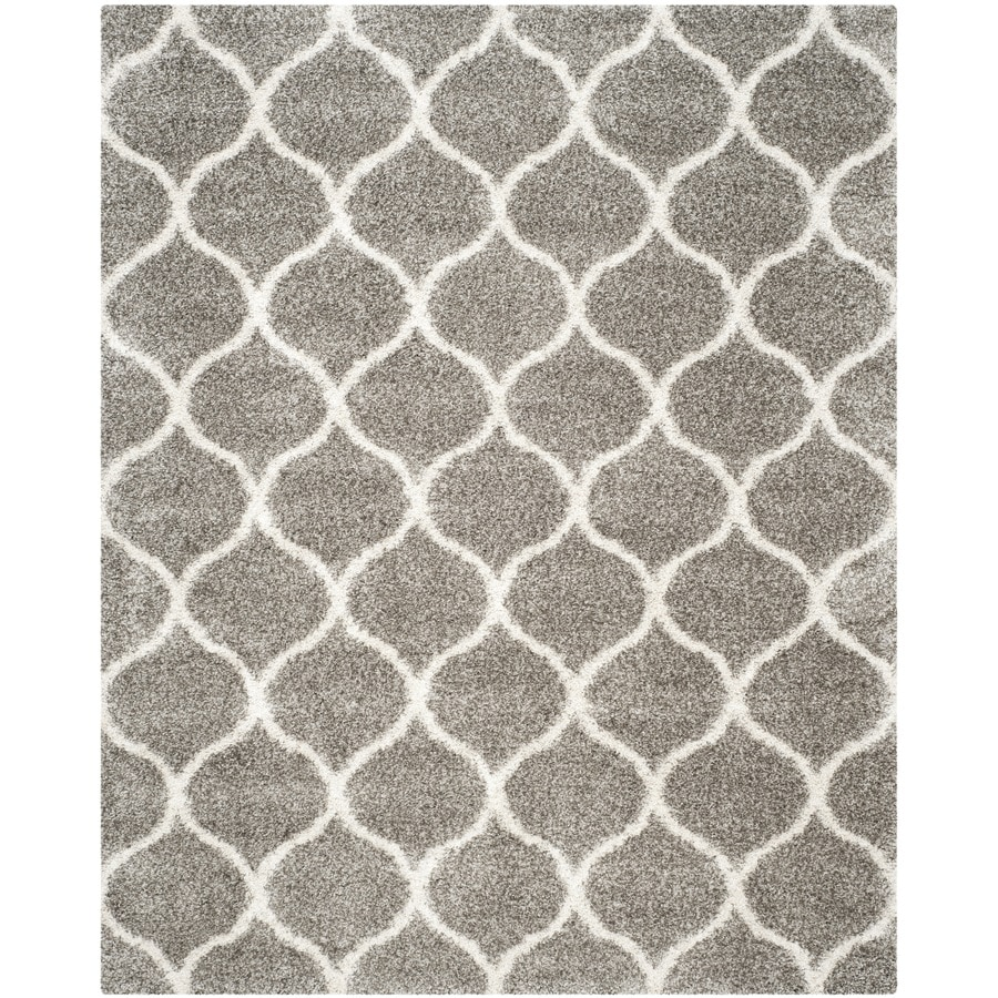 Safavieh Hudson Hathaway Shag Gray/Ivory Rectangular Indoor Machine-made Moroccan Area Rug (Common: 10 x 14; Actual: 11-ft W x 15-ft L)