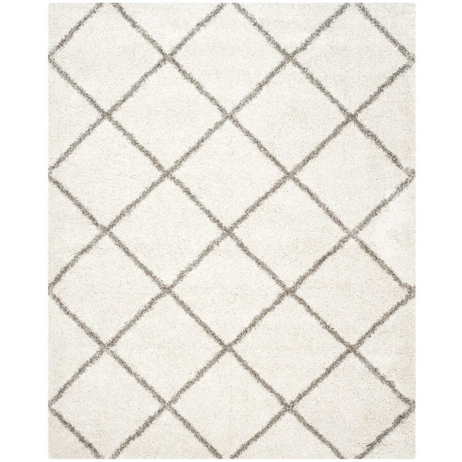 Safavieh Hudson Shag Ivory/Gray Rectangular Indoor Machine-Made Moroccan Area Rug (Common: 10 x 14; Actual: 10-ft W x 14-ft L)