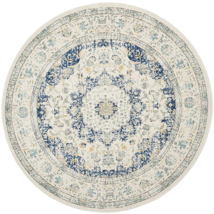 Safavieh Evoke Savoy Ivory/Blue Round Indoor Machine-Made Oriental Area Rug (Common: 6 x 6; Actual: 6.6-ft W x 6.6-ft L x 6.6-ft dia)
