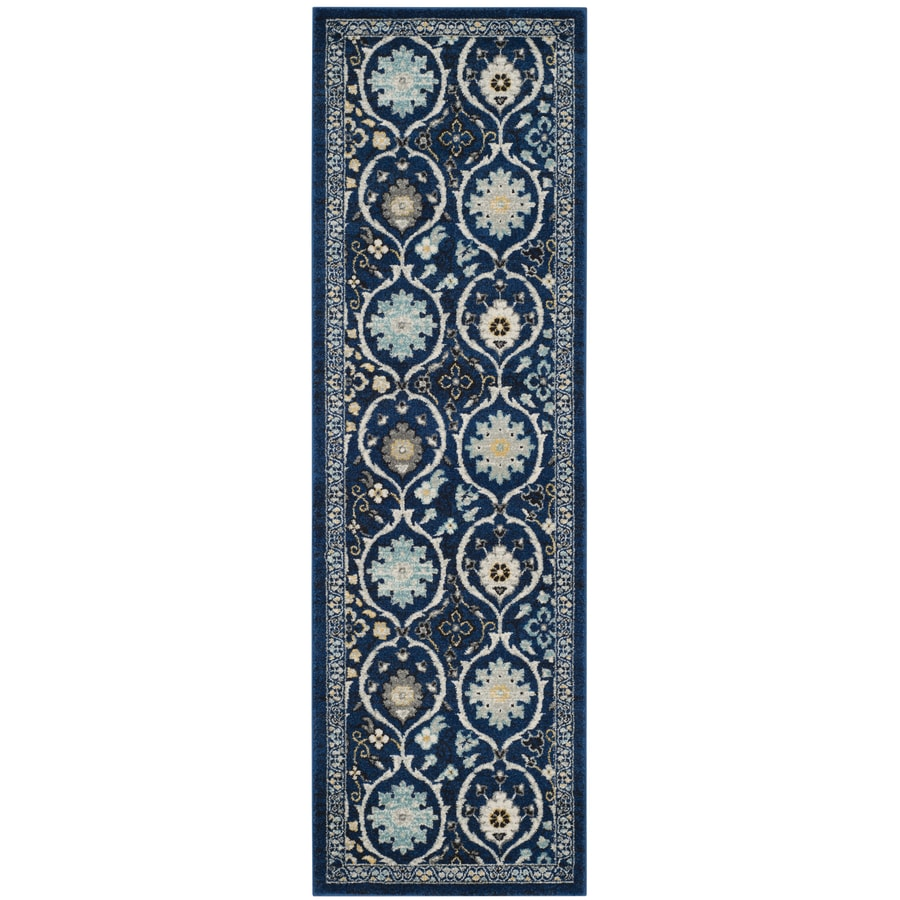 Safavieh Evoke Baxter Royal Blue/Ivory Indoor Oriental Runner (Common: 2 x 7; Actual: 2.2-ft W x 7-ft L)