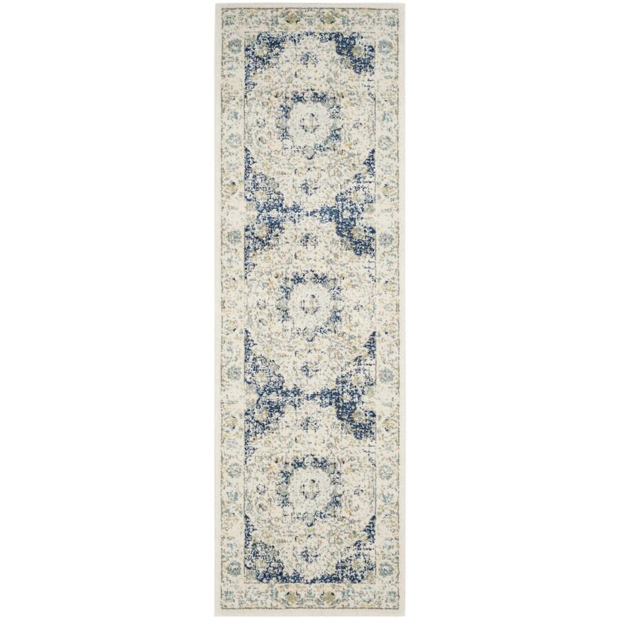 Safavieh Evoke Savoy Ivory/Blue Indoor Oriental Runner (Common: 2 x 7; Actual: 2.2-ft W x 7-ft L)