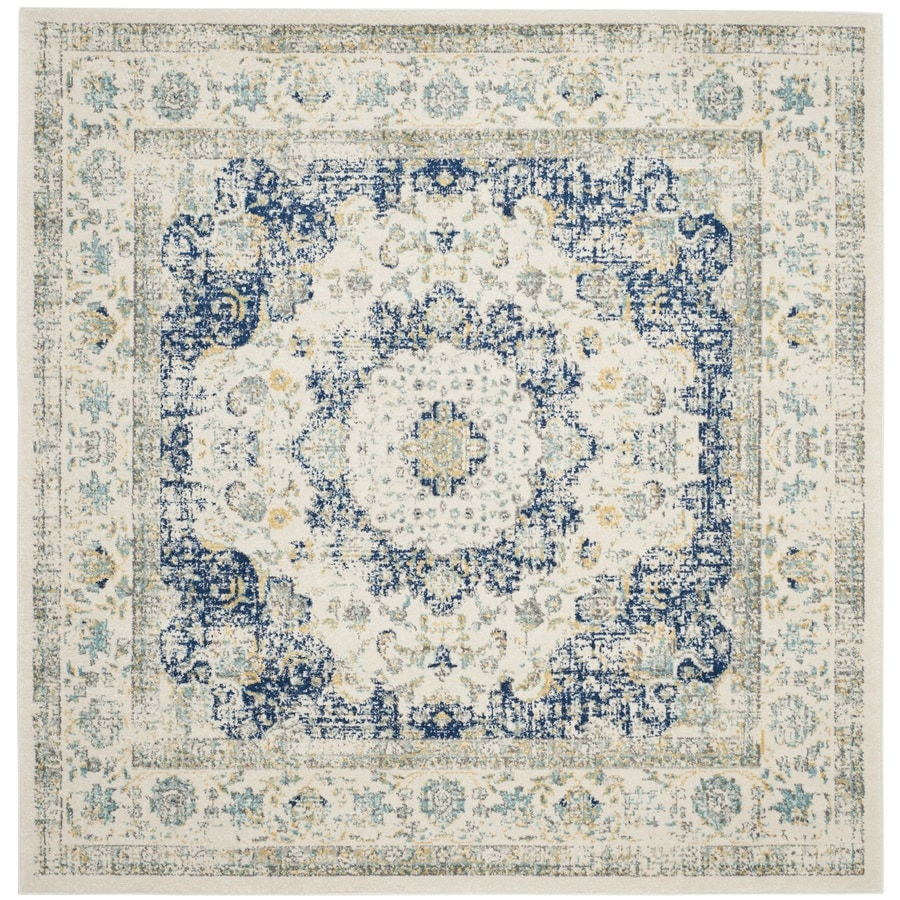 Safavieh Evoke Savoy Ivory/Blue Square Indoor Machine-Made Oriental Area Rug (Common: 6 x 6; Actual: 6.6-ft W x 6.6-ft L)