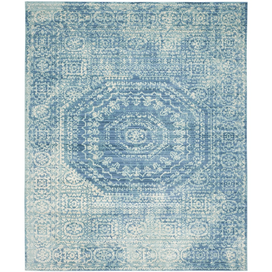 Safavieh Valencia Konye Blue Indoor Distressed Area Rug (Common: 9 x 12; Actual: 9-ft W x 12-ft L)