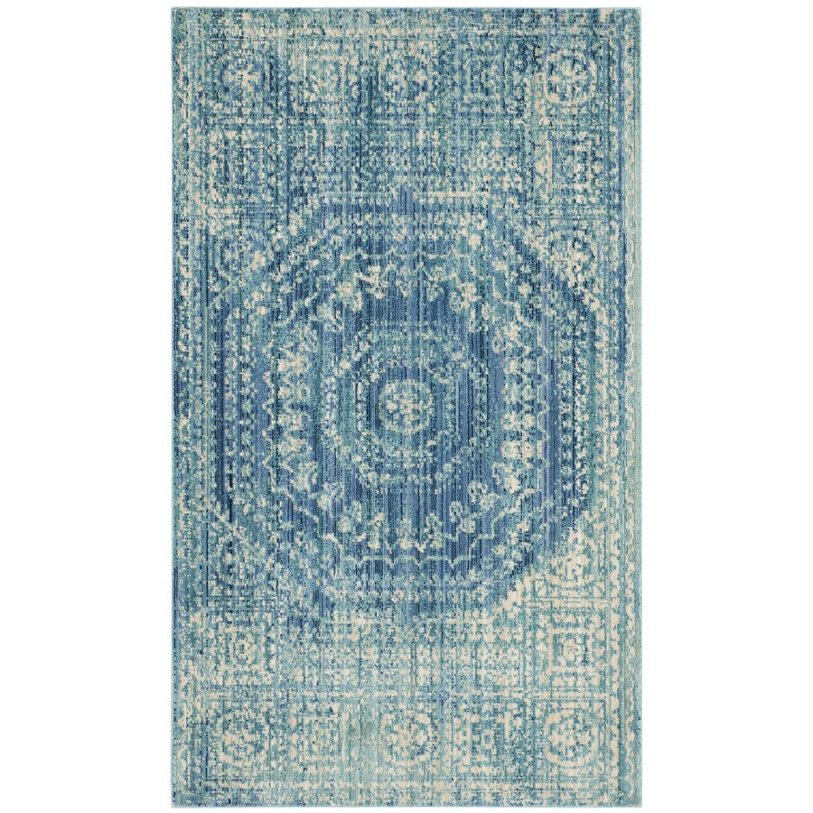 Safavieh Valencia Konye Blue Indoor Distressed Throw Rug (Common: 3 x 5; Actual: 3-ft W x 5-ft L)