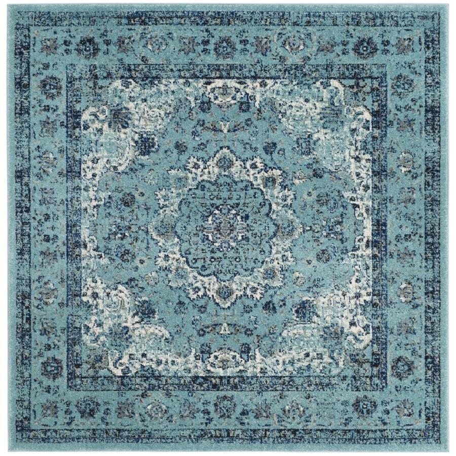 Safavieh Evoke Savoy Light Blue/Light Blue Square Indoor Oriental Area Rug (Common: 7 x 7; Actual: 6.7-ft W x 6.6-ft L)