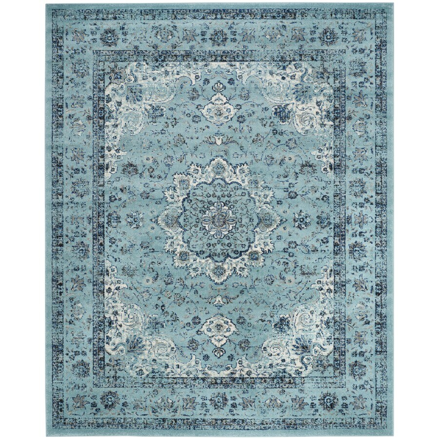Safavieh Evoke Savoy Light Blue/Light Blue Rectangular Indoor Machine-Made Oriental Area Rug (Common: 8 x 10; Actual: 8-ft W x 10-ft L)