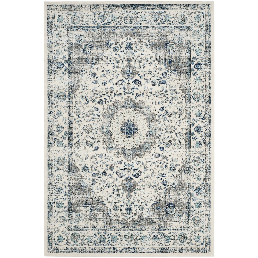 Safavieh Evoke Savoy Gray/Ivory Rectangular Indoor Machine-Made Oriental Area Rug (Common: 5 x 7; Actual: 5.1-ft W x 7.5-ft L)