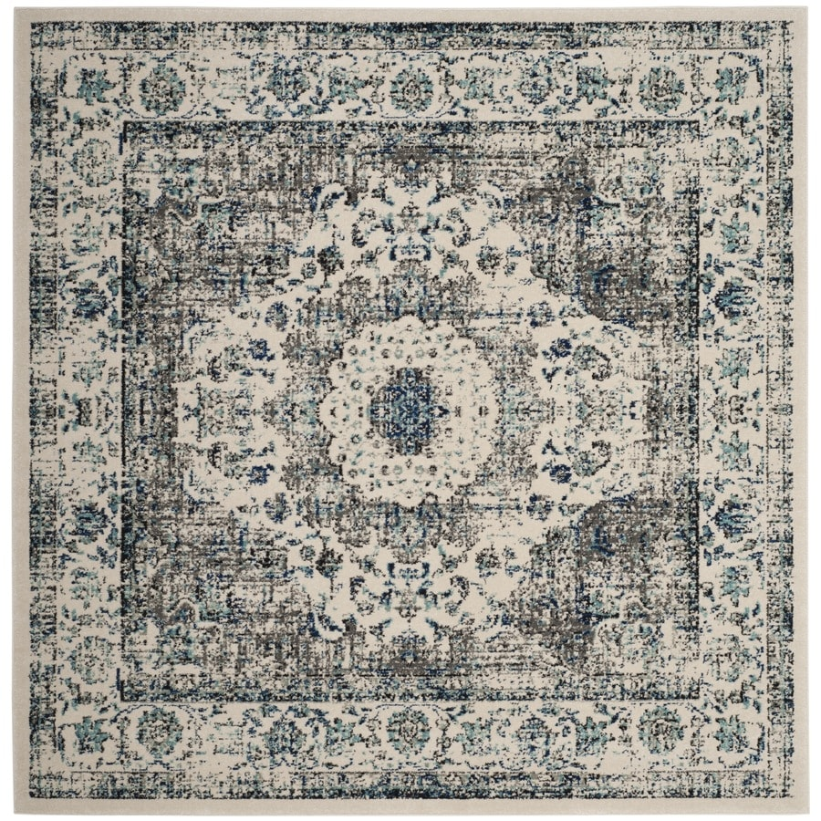 Safavieh Evoke Savoy Gray/Ivory Square Indoor Oriental Area Rug (Common: 7 x 7; Actual: 6.7-ft W x 6.6-ft L)